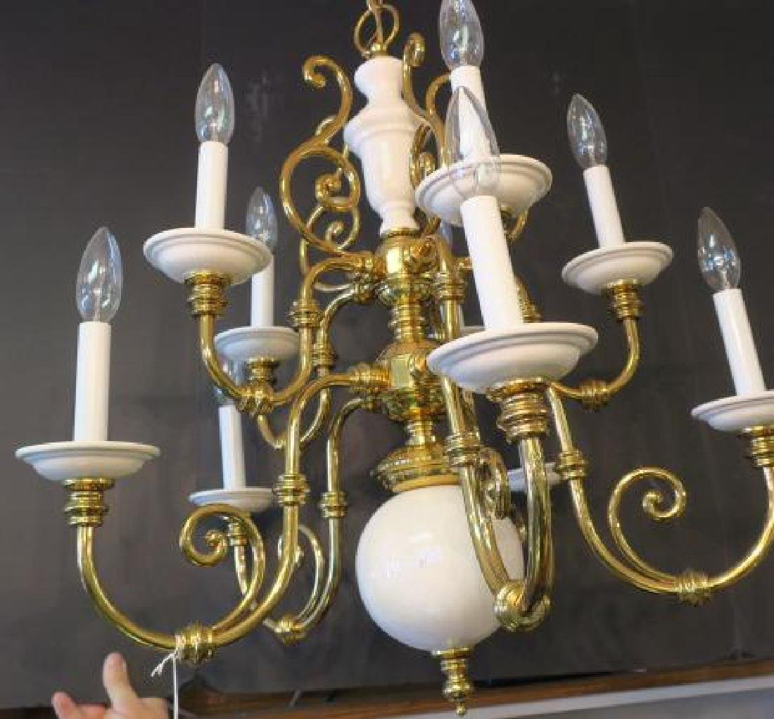 Brass and Porcelain 10 Arm 2 Tier Chandelier: