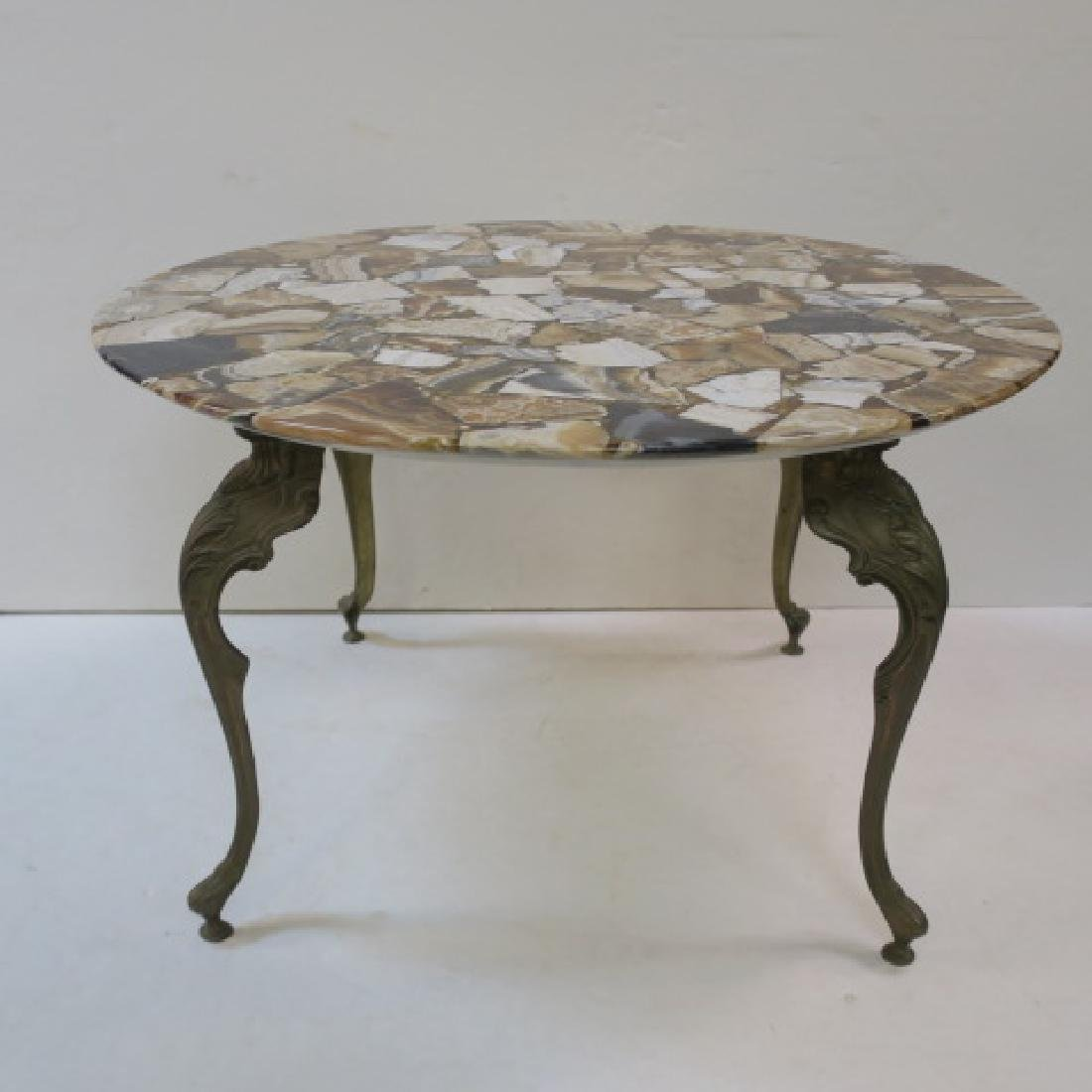Round Agate Top Metal Frame Table by JIM: