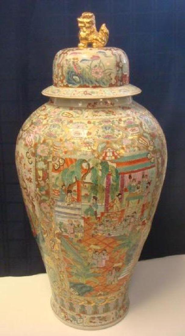 Monumental Lidded Chinese Rose Medallion Ginger Jar:
