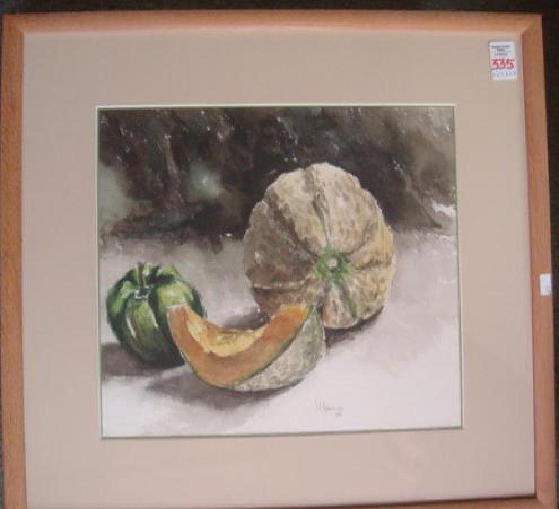 Cantaloupe, Pepper Watercolor Signed J. CHAMELEE: