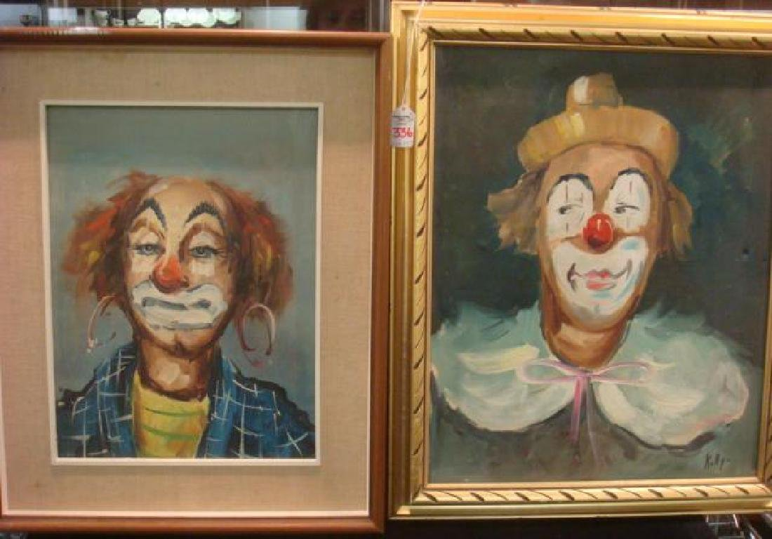Two Oil on Canvas Clowns Signed KITTY: