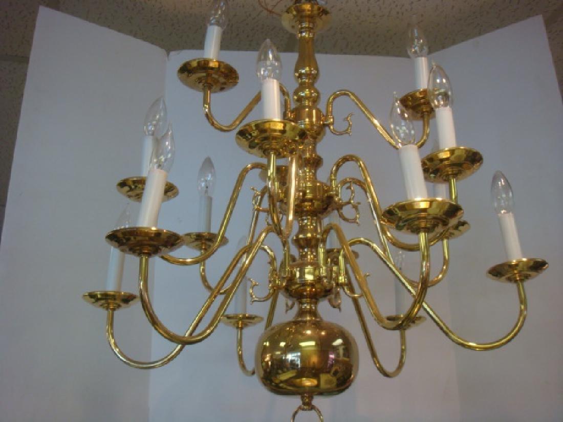 Antique Solid Brass, 10 Arm Chandelier, Williamsburg