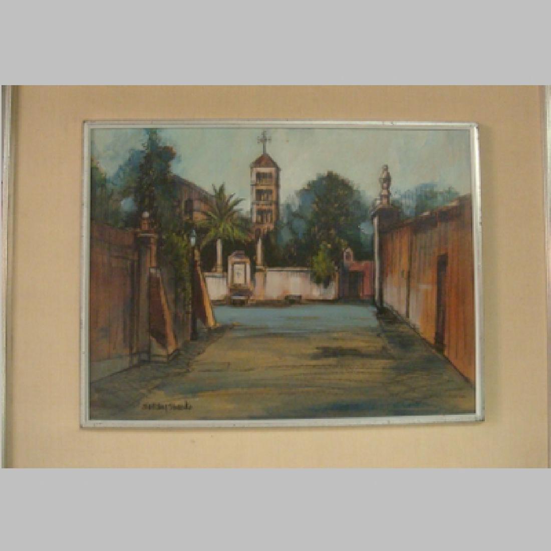BARCLAY SHEAKS European Street Scene Acrylic on Canvas: