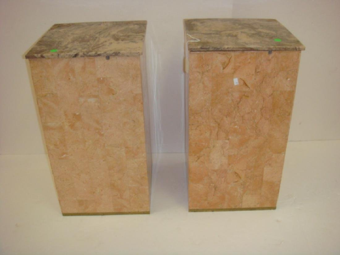 "Pair of 21""T Salmon Color Square Marbled Pedestals:"