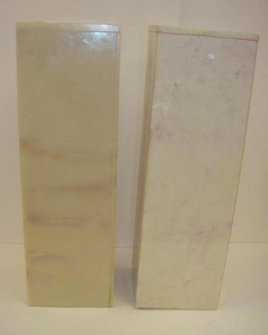 "Pair of 35""T Vanilla Marbled Square Pedestals:"