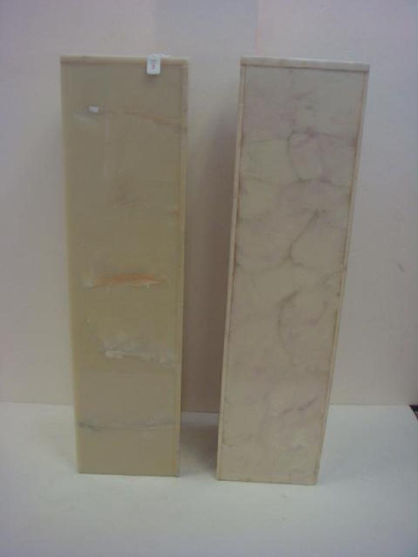"Pair of 42""T Vanilla Marbled Square Pedestals:"