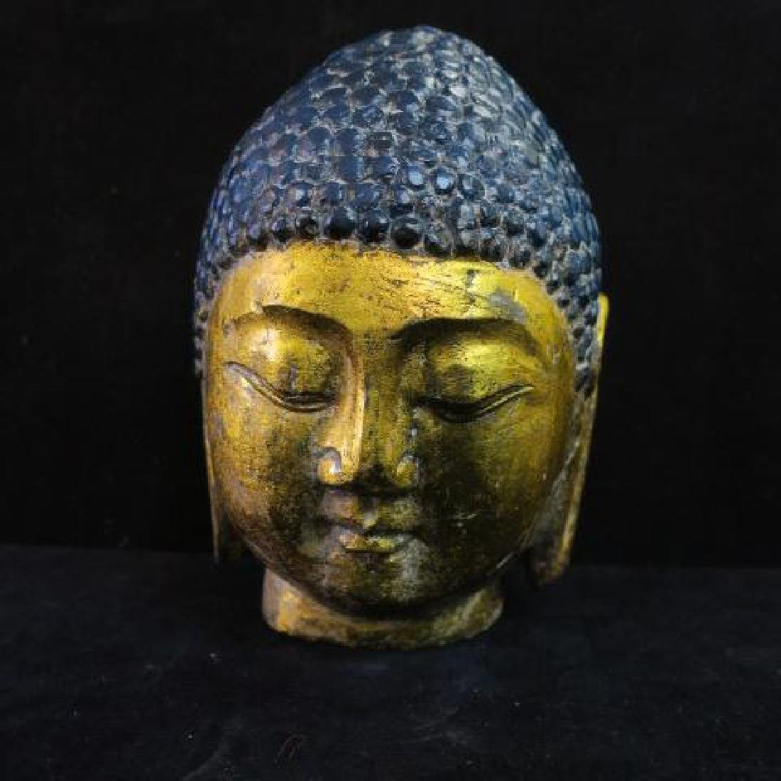 Sculpture of Thai Buddha Bust with Gilt Face and Ears: