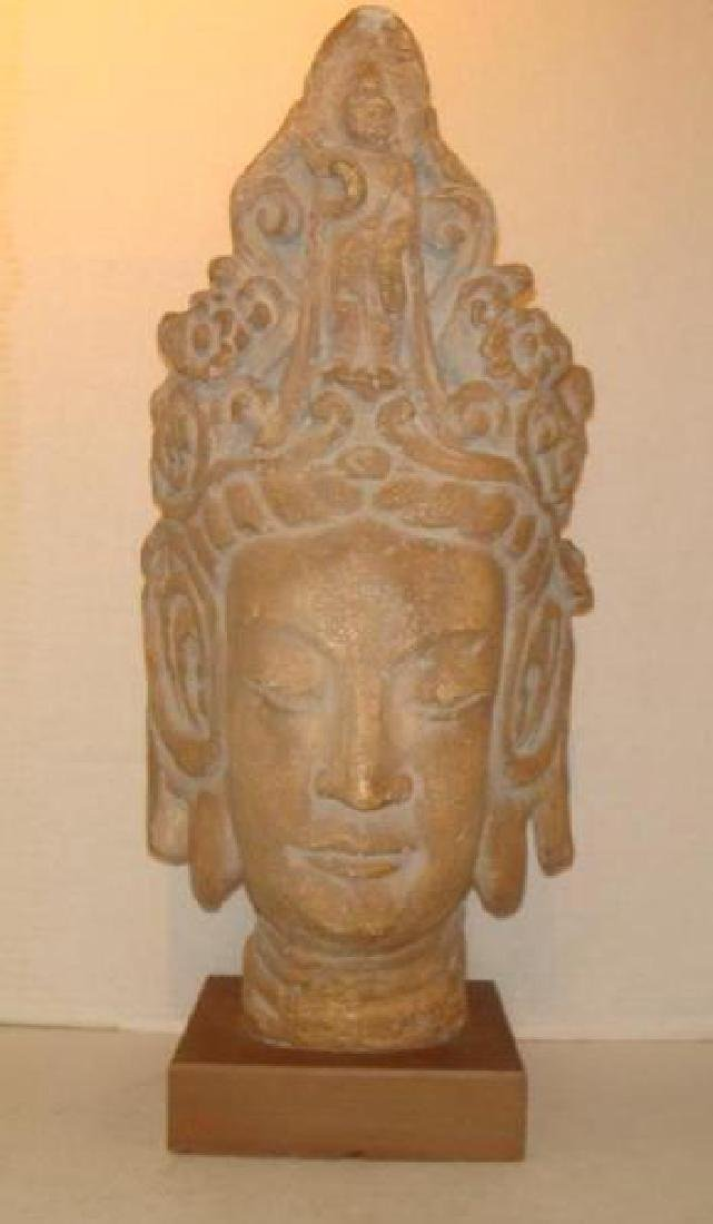 Thai Plaster Goddess Head on Plinth: