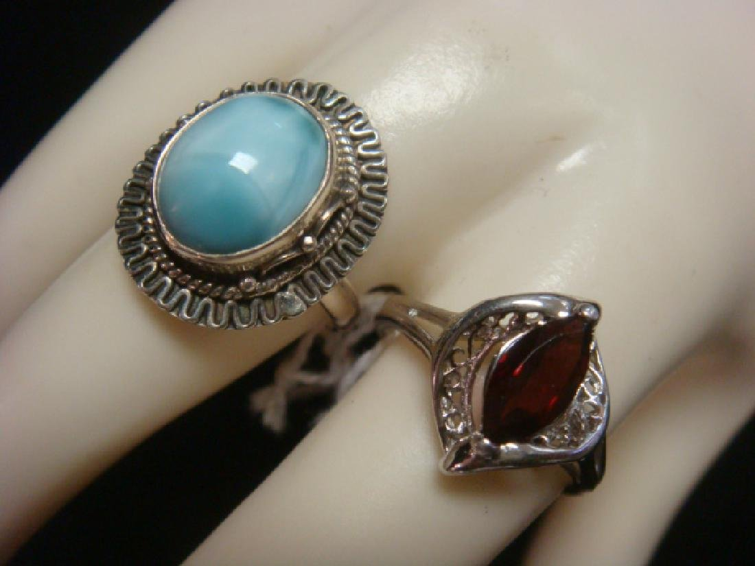 Two Sterling Ladies Rings with Semi-Precious Stones: