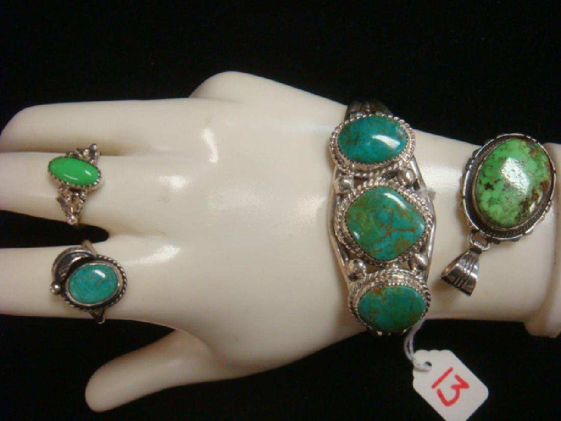Green Turquoise Cuff Bracelet, Rings and Pendant: