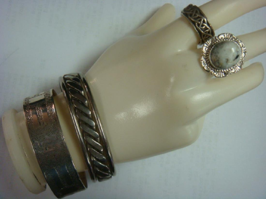 Two Silvertone Cuff Bracelets and 2 Sterling Rings:
