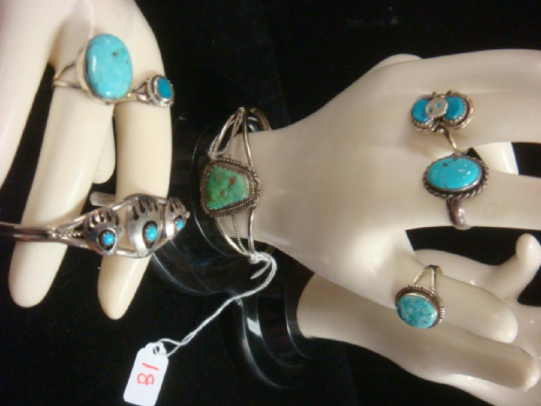 Two Silver Turquoise Cuff Bracelets, 5 Rings: