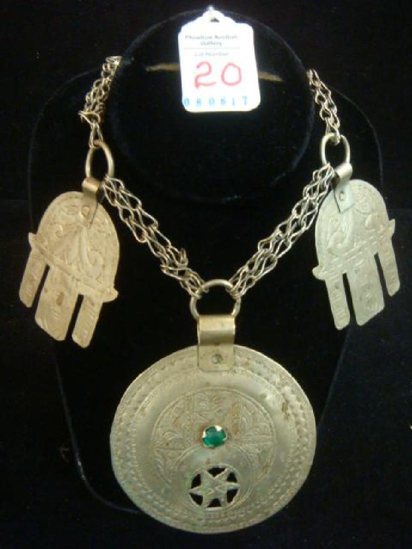 Ethnic Silver Metal Necklace with Large Medallions: