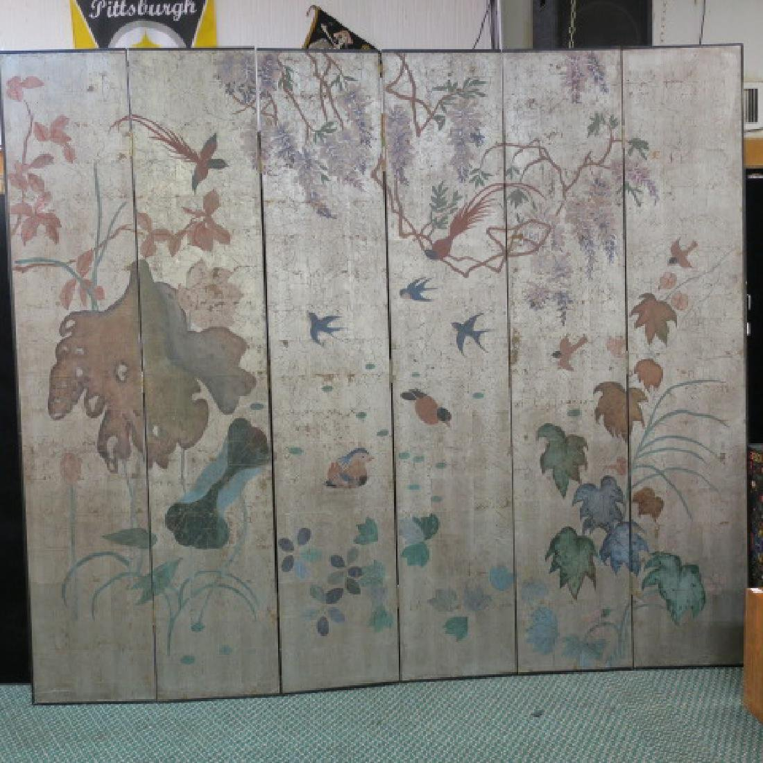 Silver Leaf 6 Panel Asian Screen with Foliate Designs: