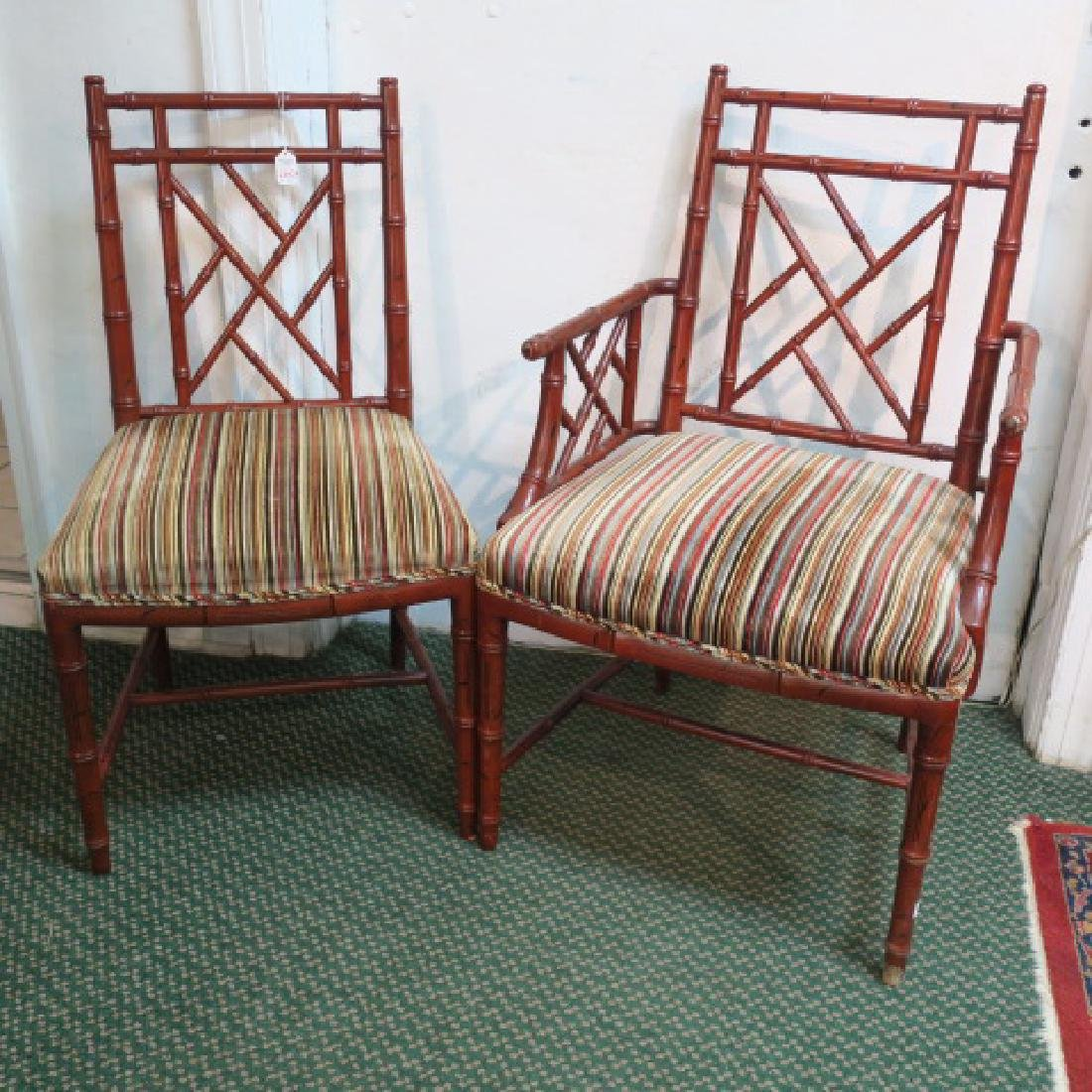 Set of 10 Asian Style Red Painted Chairs: