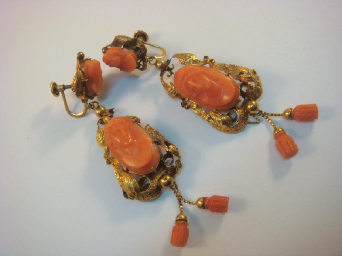 14 KT Gold Victorian Earrings with Coral Design: