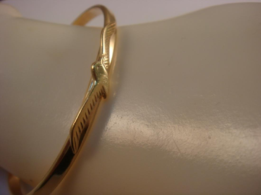 14KT Gold Cuff Bracelet with Seagull Design: