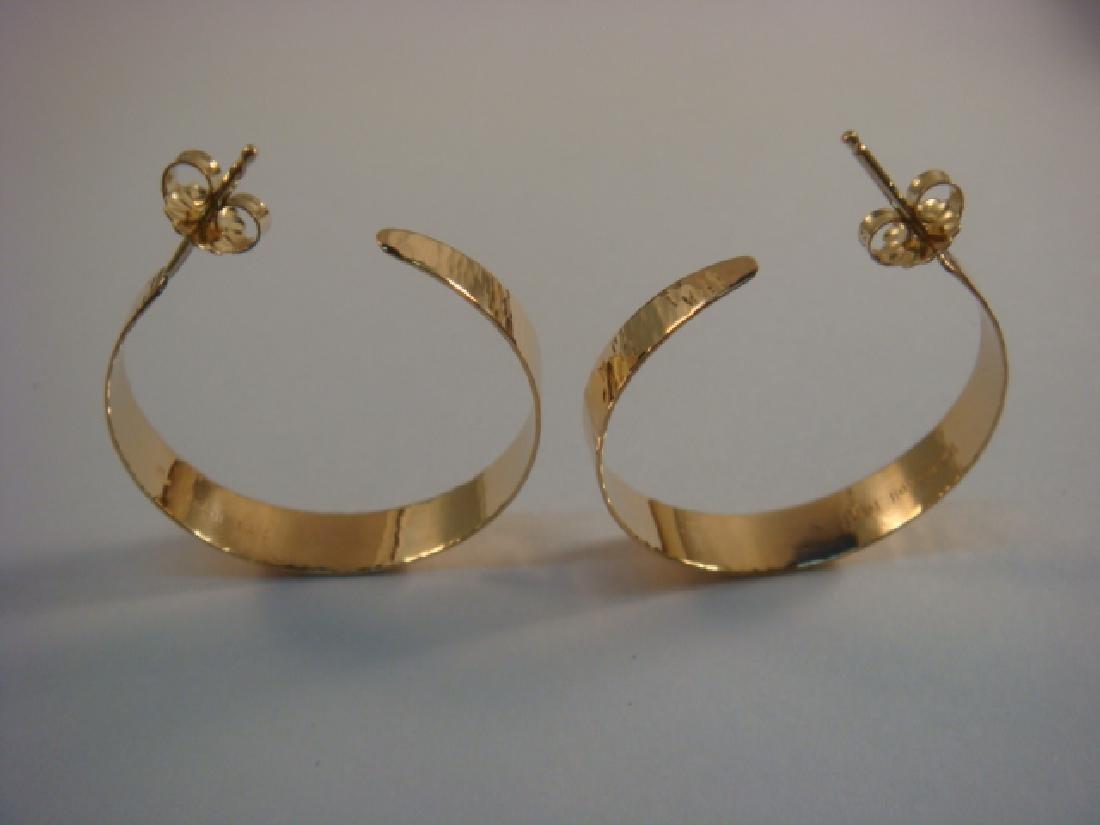 14 KT Yellow Gold Hoop Style Pierced Earrings: