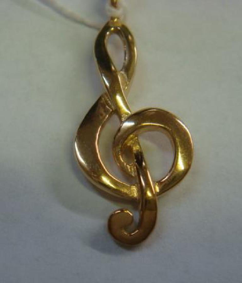 14 KT Gold Treble Clef (G Clef) Pendant: