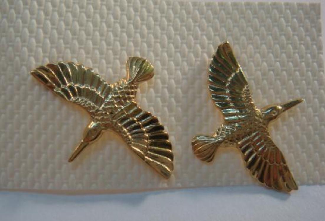 14 KT Gold Pierced Earrings of Hummingbird Design:
