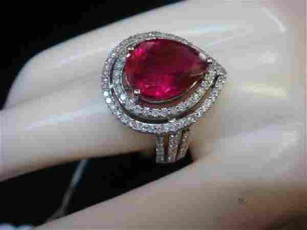 14 KT White Gold Ring with Pear Tourmaline & Diamonds: