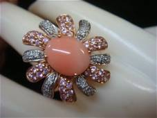 14 KT Ring, Pink Coral Center Stone & Diamond Petals: