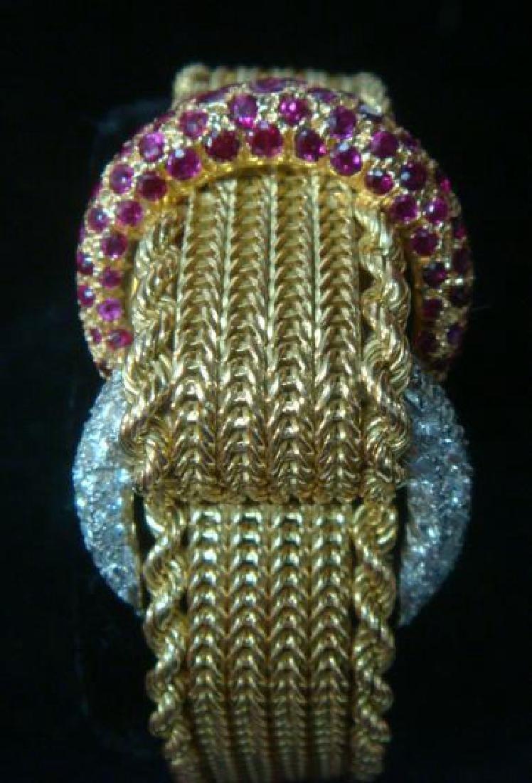 18KT Gold, Diamond, & Ruby Formal Watch: