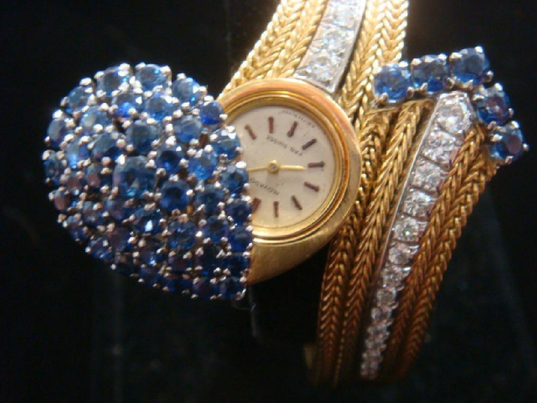 18 KT Fancy Diamond and Sapphire Watch: