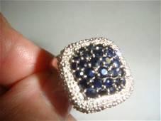 14 KT White Gold Sapphire & Diamond Cocktail Ring: