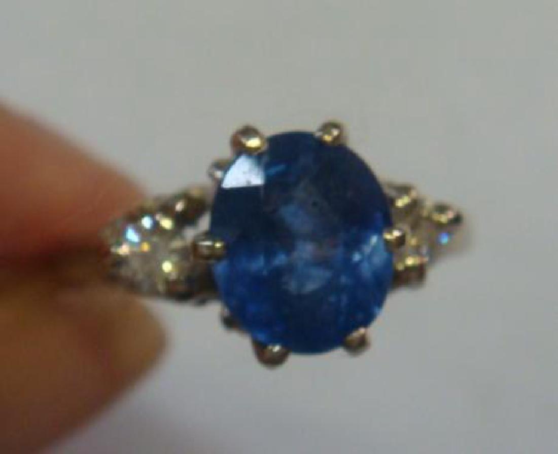 14 KT Gold Sapphire & Diamond Ring: