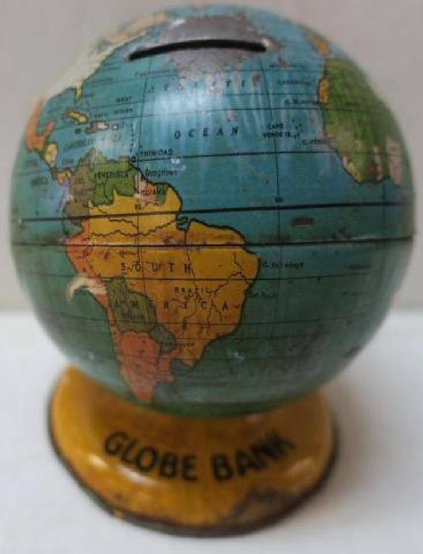 "J. CHEIN & CO. Tin Lithograph ""GLOBE BANK"", CA 1940:"