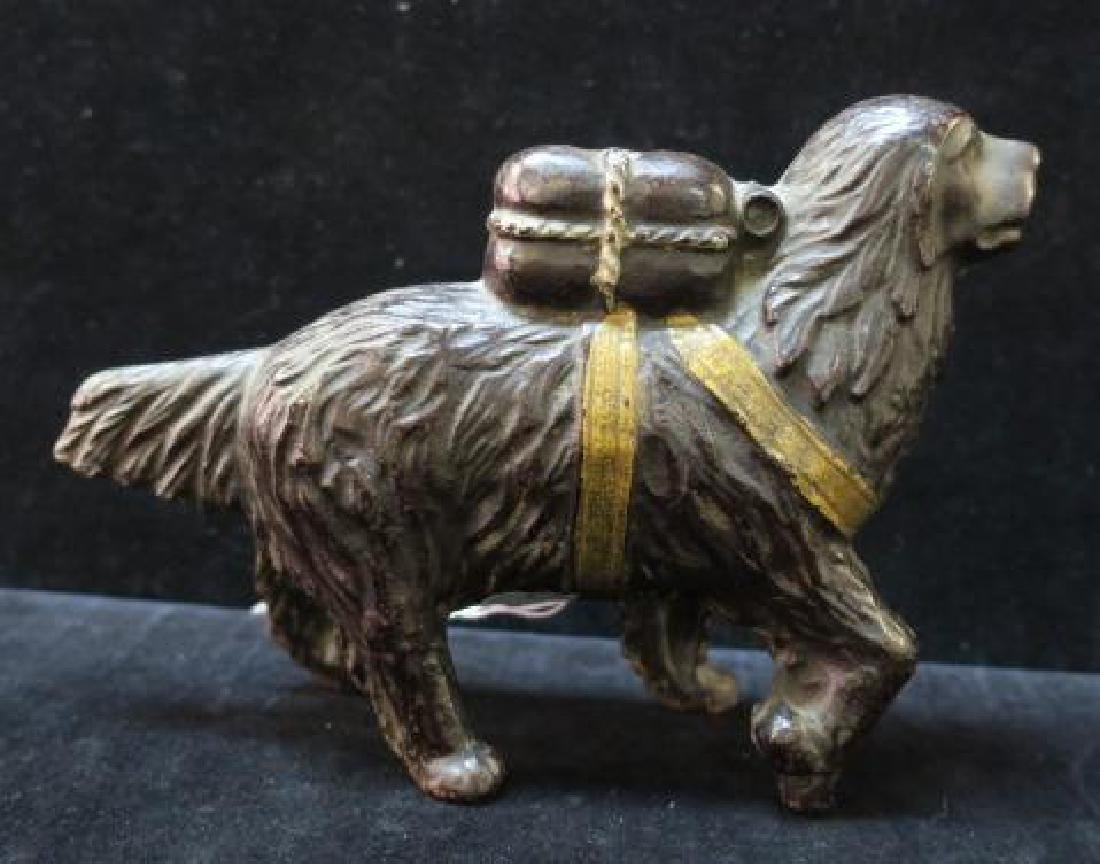 A. C. WILLIAMS St. Bernard with Pack Cast Iron Bank: