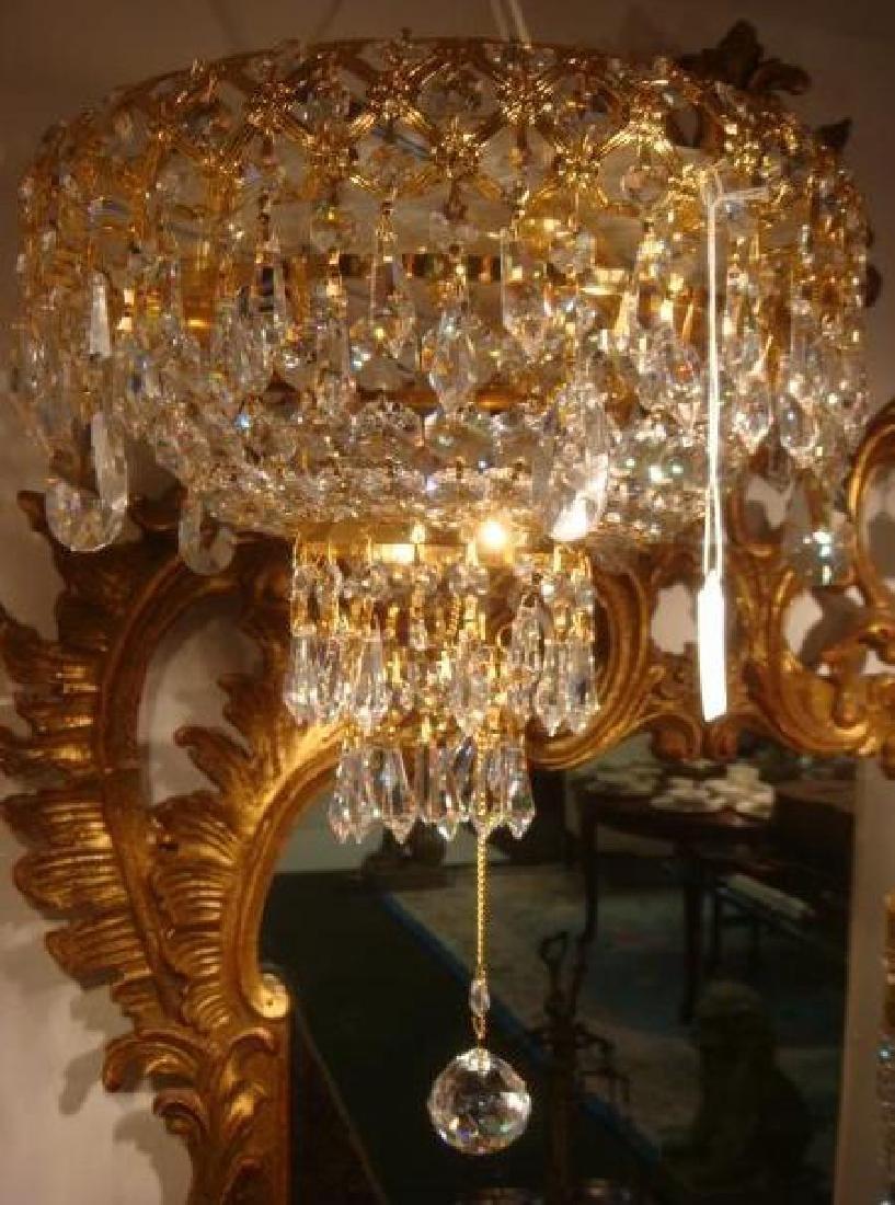 Gold Filigree Metal Frame Crystal Chandelier: