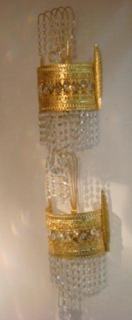 Pair of Filigree Metal Prism Sconces: