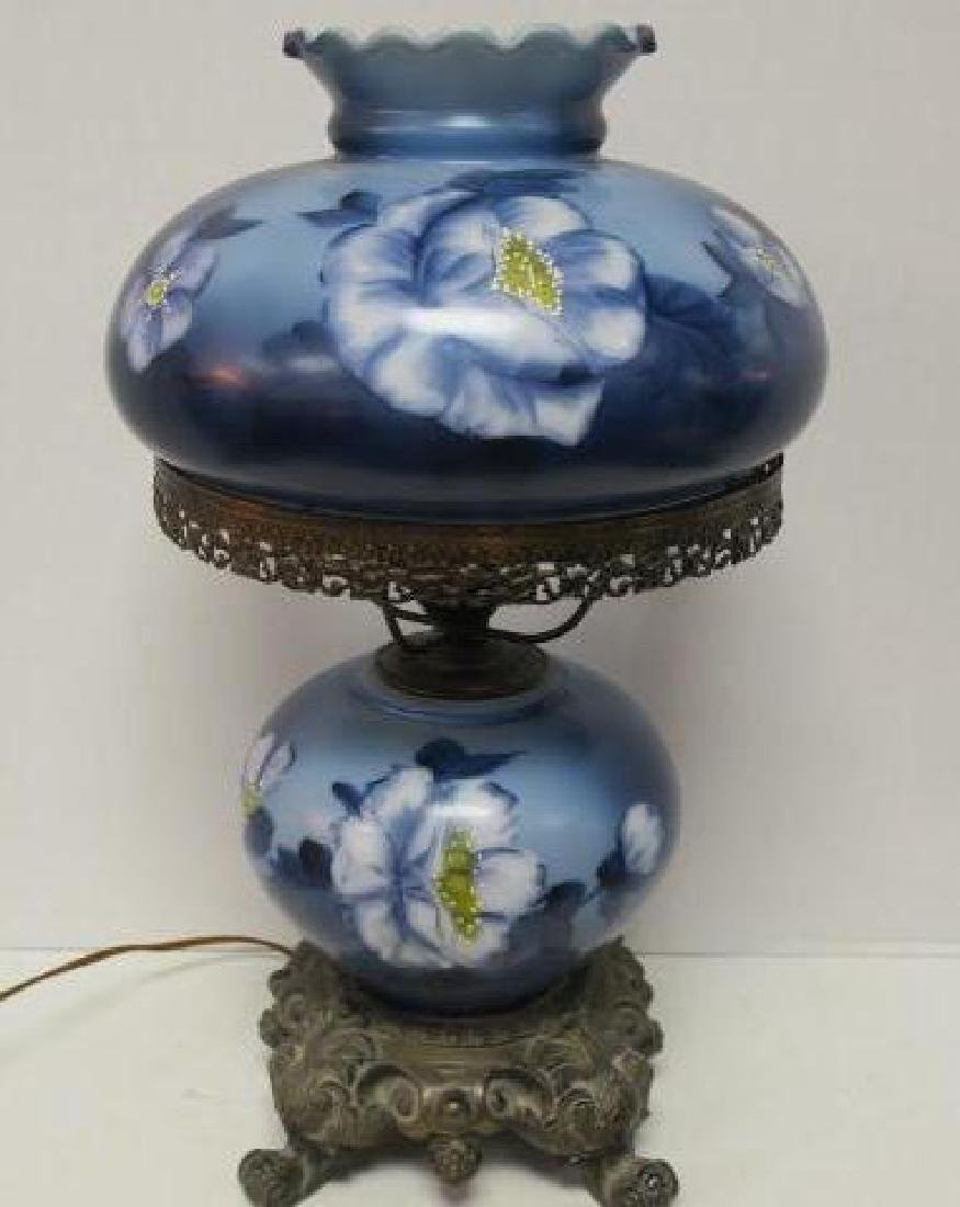 Blue Floral Gone with the Wind Lamp, Electrified: