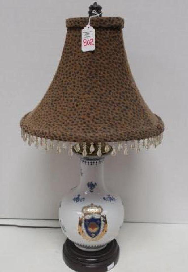Ceramic Bulbous Porcelain Lamp with French Shield: