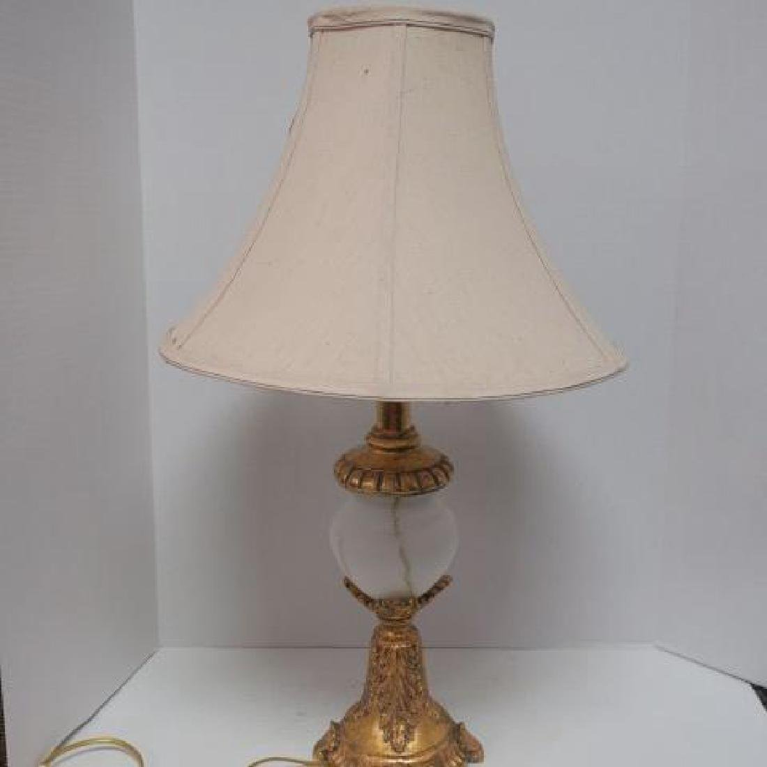 Gilded Table Lamp with White Satin Glass Insert: