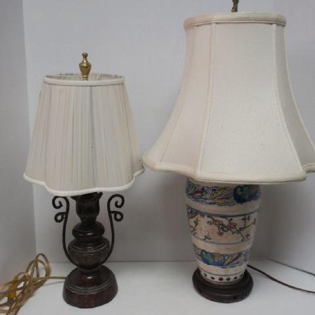 Two Table Lamps, Pottery and Handled Composition: