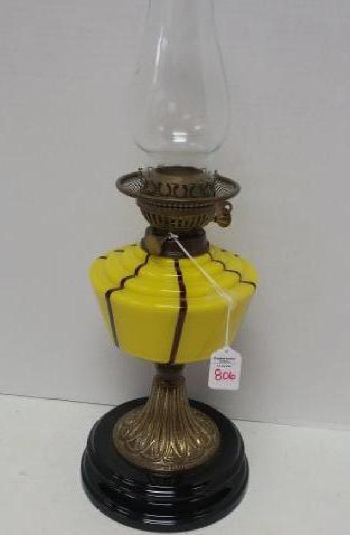 Antique VERITAS Glass Works Oil Lamp: