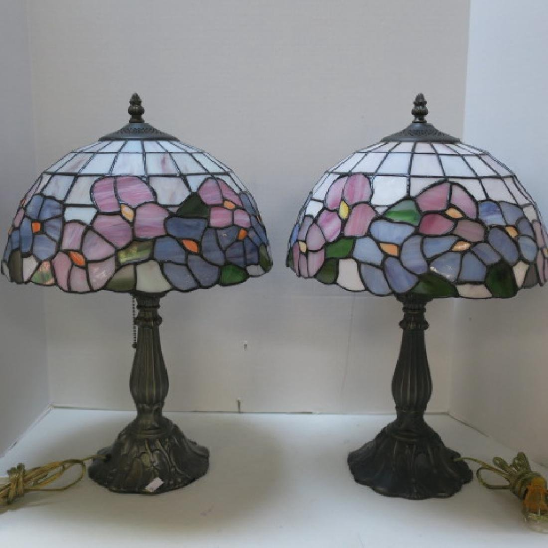 Pair of Leaded Glass Table Lamps:
