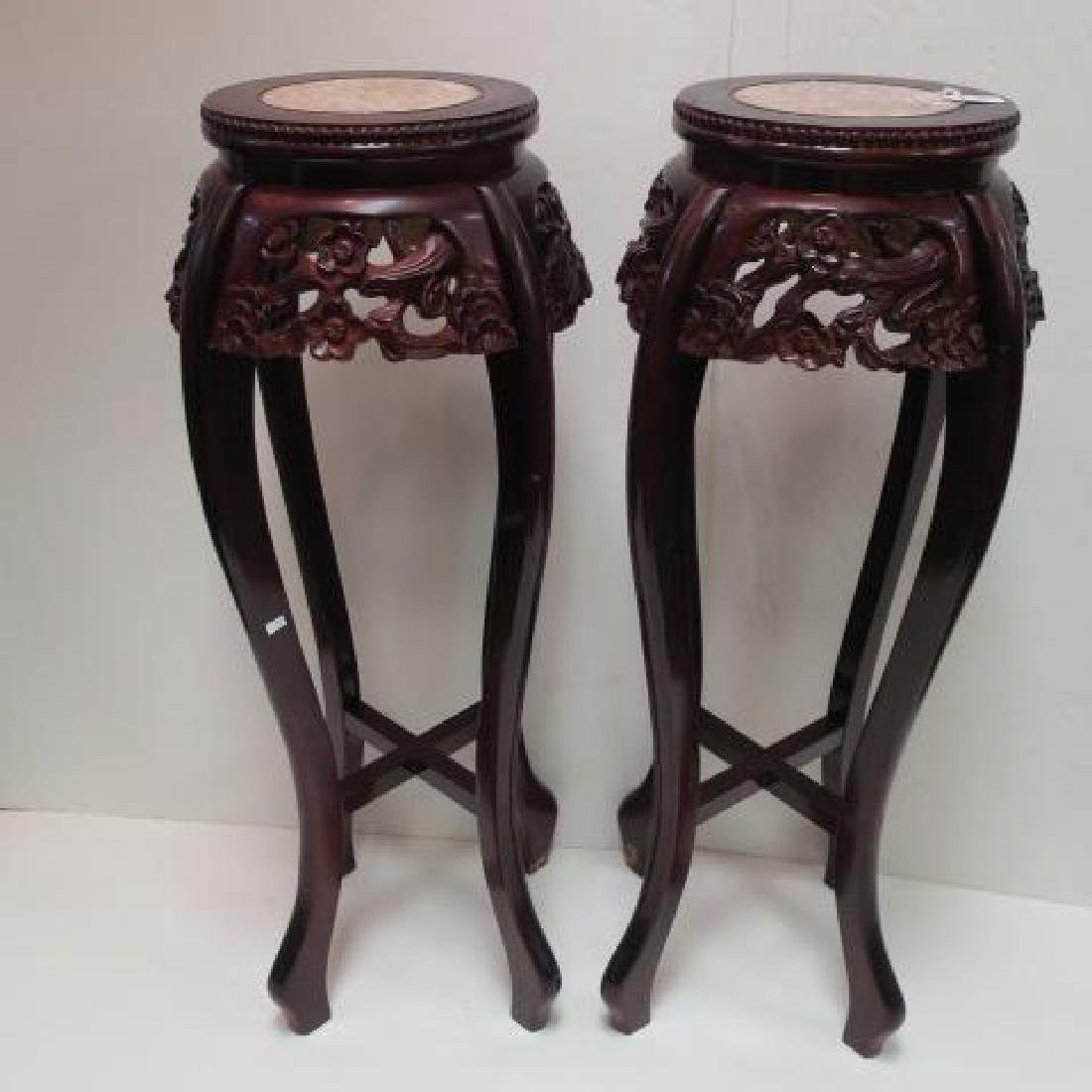 Pair of Carved Mahogany Marble Top Pedestals: