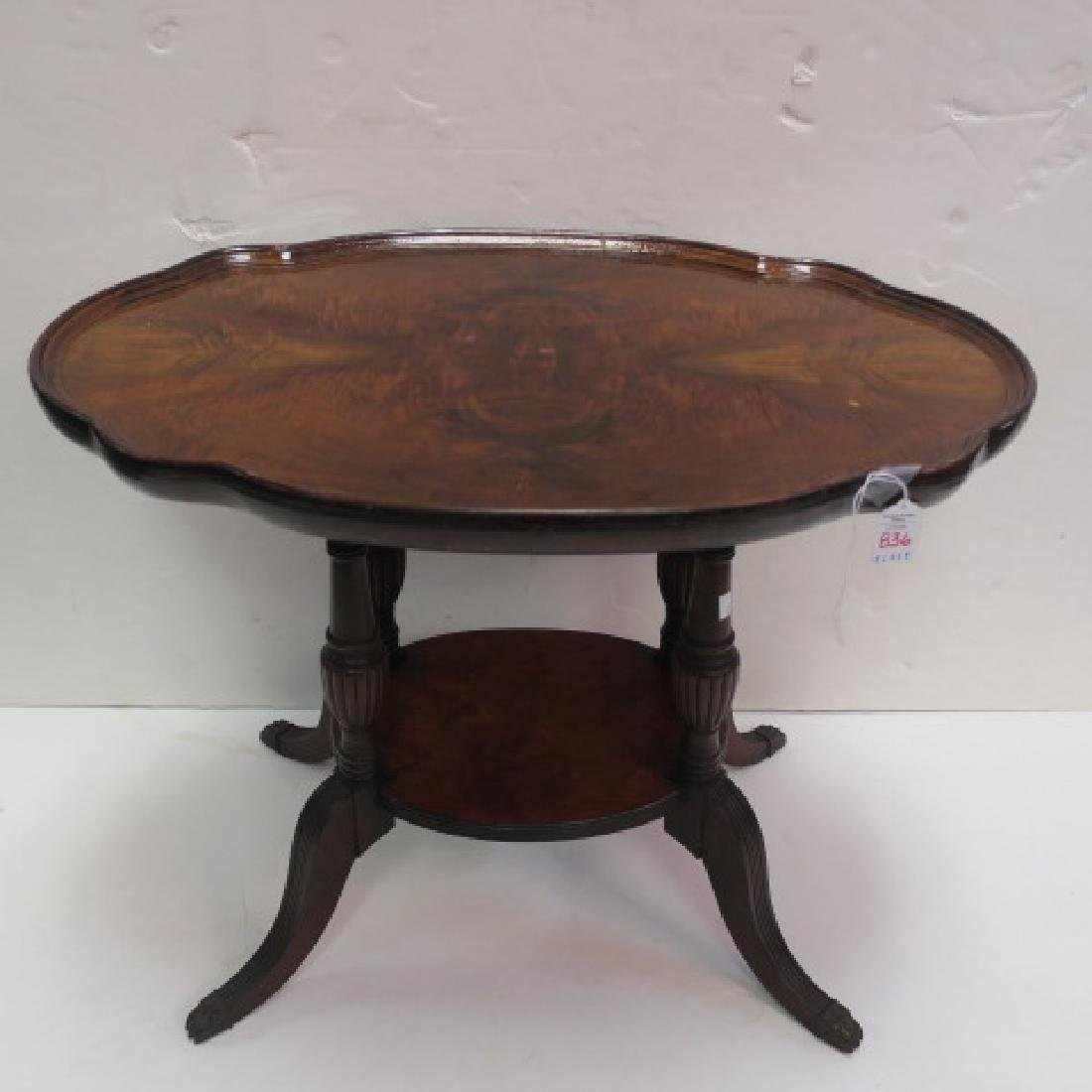 Figured Walnut Oval Two Tiered Side Table: