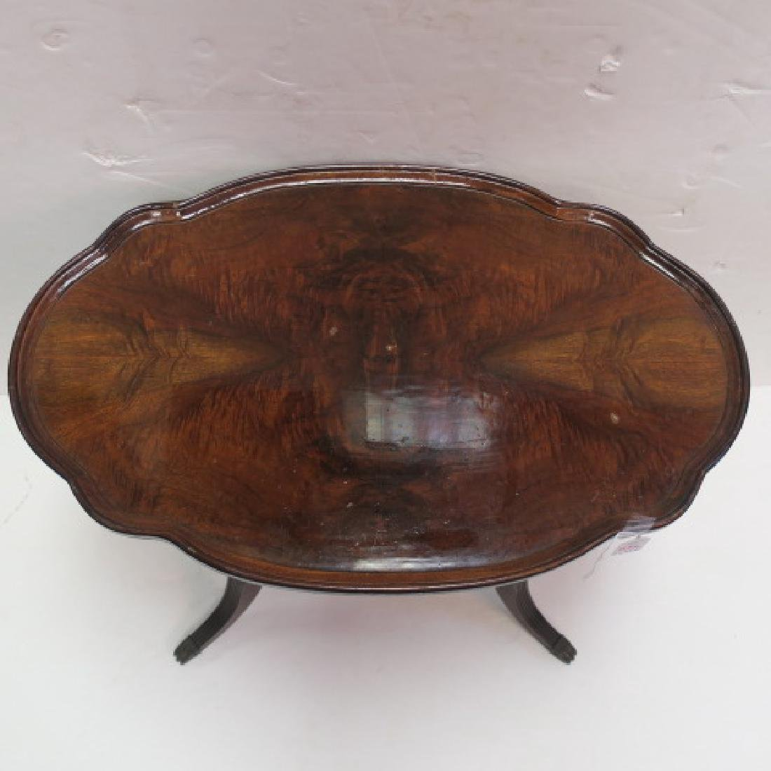 Figured Walnut Oval Two Tiered Side Table: - 2
