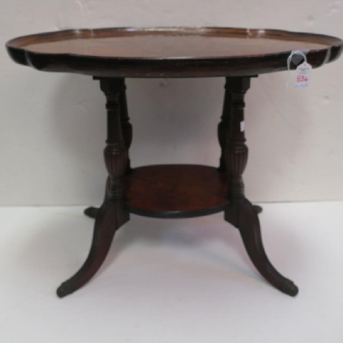 Figured Walnut Oval Two Tiered Side Table: - 4