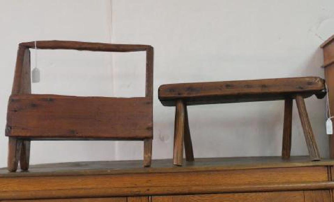 19th Century Workman's Tool Caddy & Four Legged Stool:
