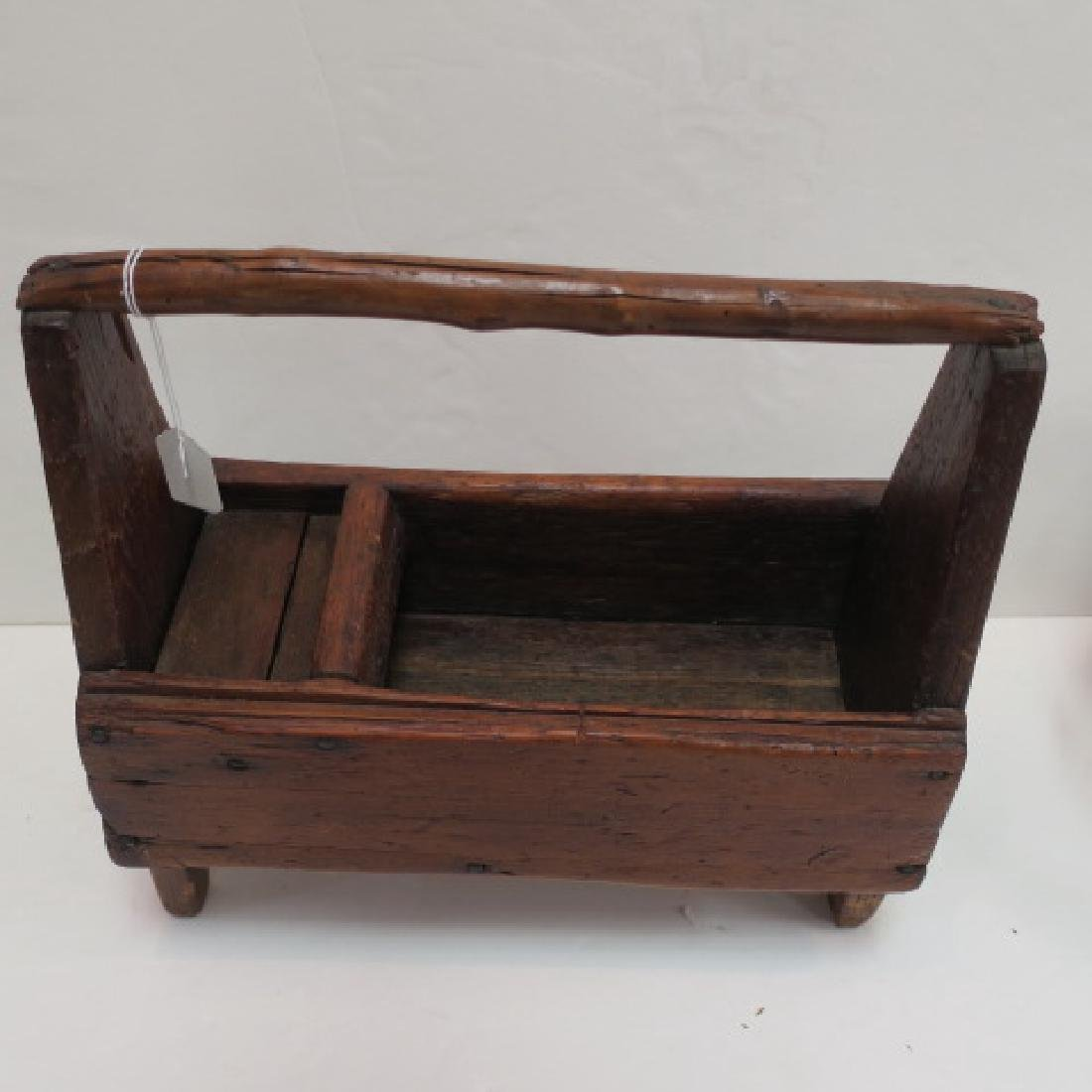 19th Century Workman's Tool Caddy & Four Legged Stool: - 2