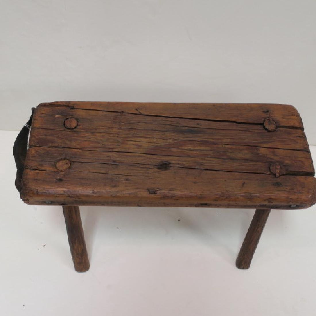 19th Century Workman's Tool Caddy & Four Legged Stool: - 3