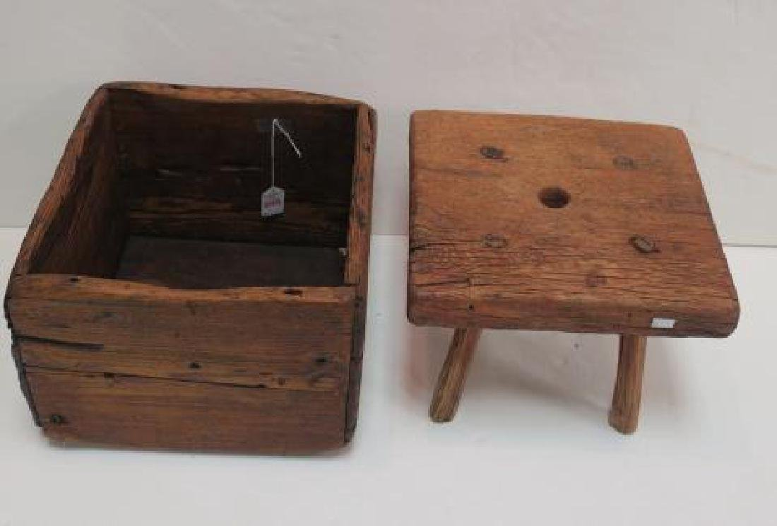 Oak Handmade Drawer and Four Legged Stool: