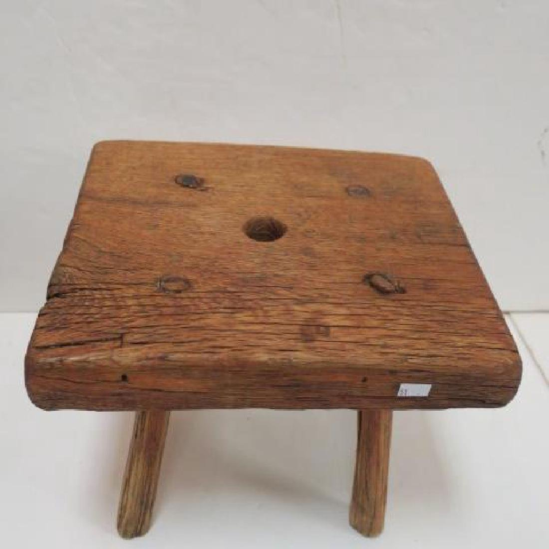 Oak Handmade Drawer and Four Legged Stool: - 2