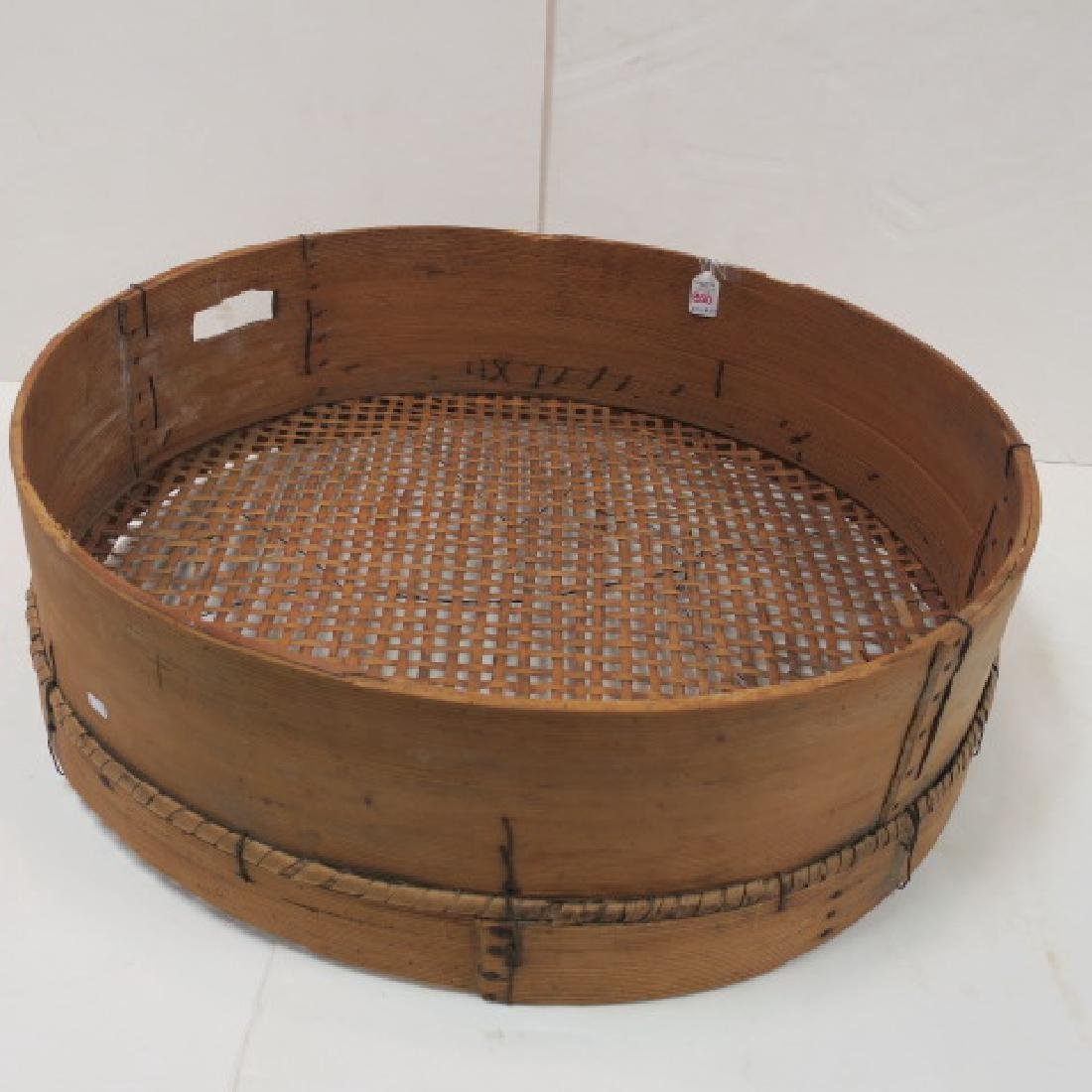 Large Round Bentwood Grain Sifter: - 2